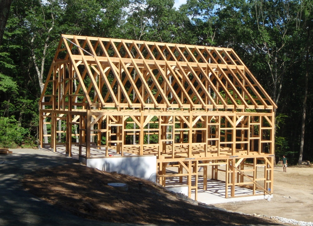 Gerry woodworkers timber frame gambrel barn plans for Barn frame homes