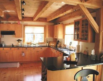 Interior Design of a Post and Beam Kitchen Ceiling