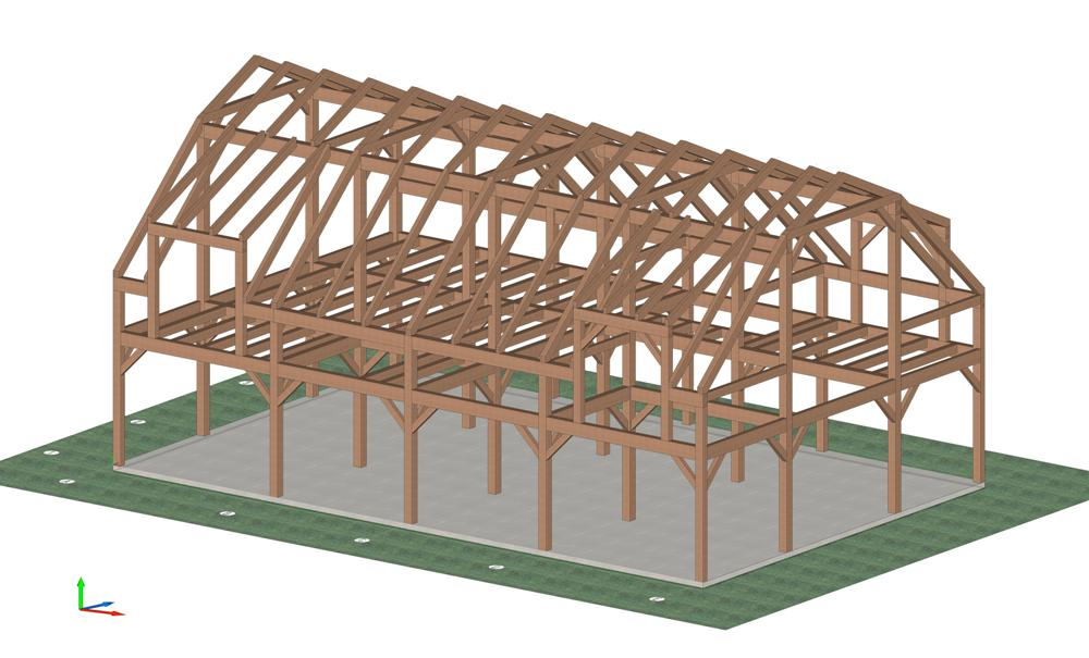 Zekaria Timber Frame Gambrel Barn Plans