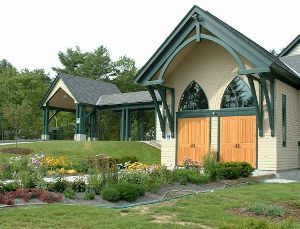 Timber Porte Cochere and Arched Church Trusses