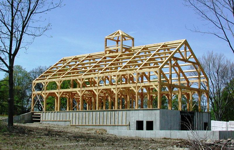 Finished Timber Frame for a Barn in Mass
