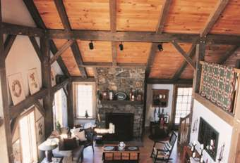 Timber Frame Home Interior with Loft