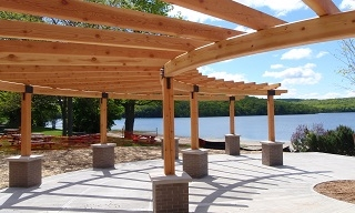 Timber Frame Pergola with Post and Beam Joinery