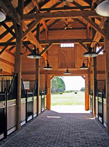 Timber Frame Horse Barn Aisle