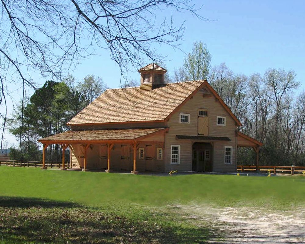 Carolina horse barn handcrafted timber stable for Wood barn homes