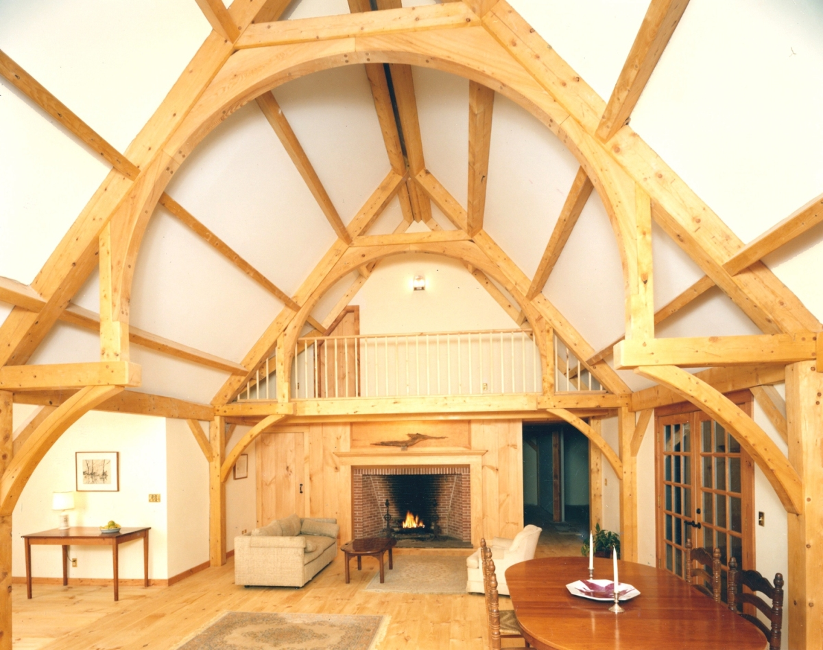 Timber frame for an indoor swimming pool hammer beam truss - Traditional houses attic ...
