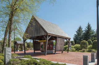 Hand Hewn Oak Corn Crib at the Southern Vermont Welcome Center