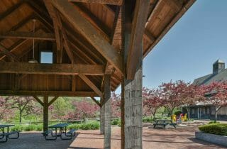 Hand Hewn Oak Picnic Shelter at the Southern Vermont Welcome Center