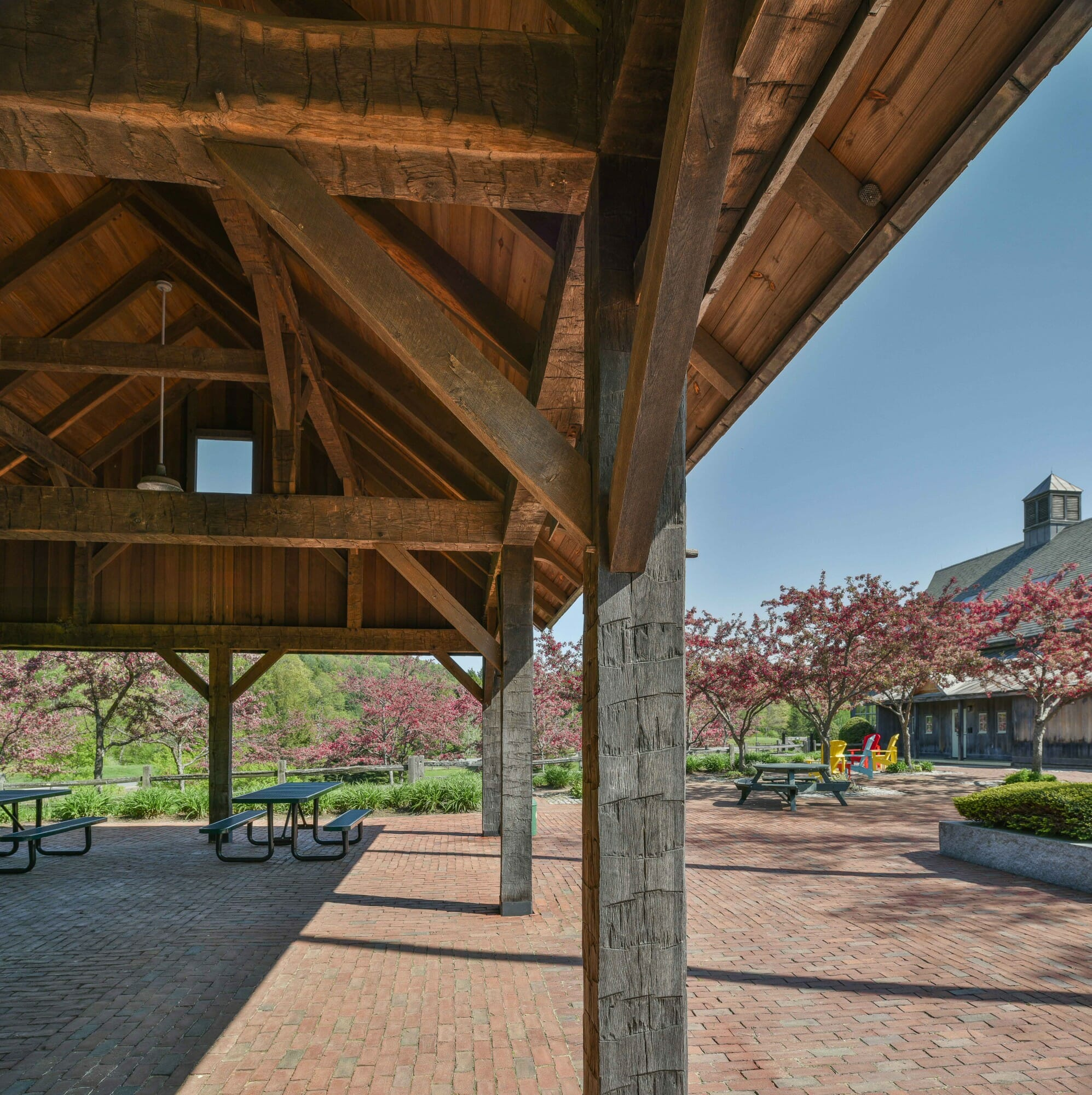 Hand Hewn, Weathered Oak Outdoor Picnic Shelter