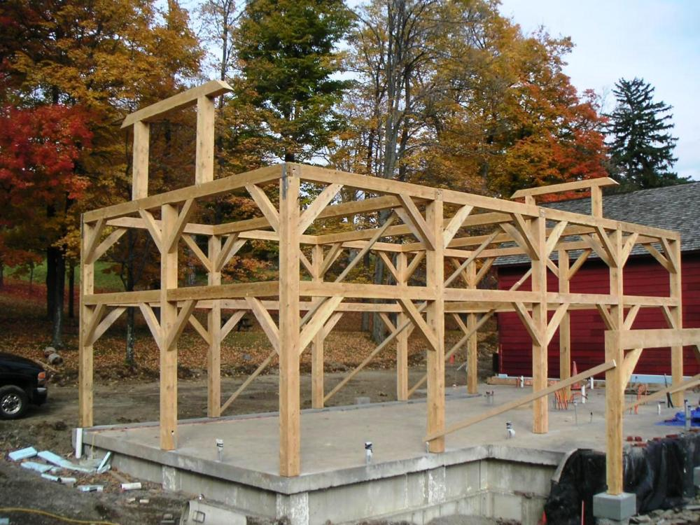 Olana wagon barn eastern hemlock timber barn frame for Post beam barn plans