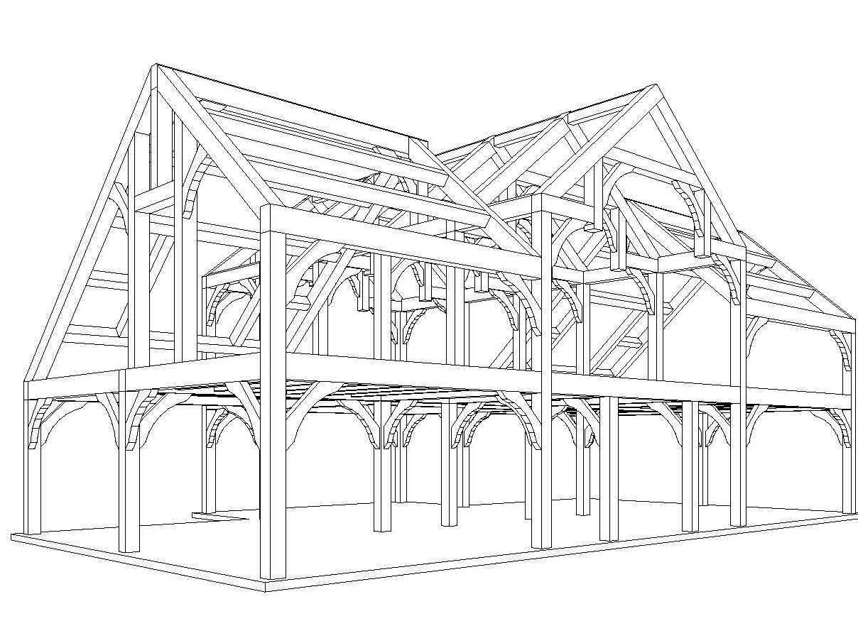 Country barn traditional timber joinery for Timber framed house plans