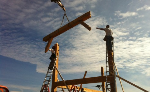 Flying Timber Beam During the Eberhart Barn Construction