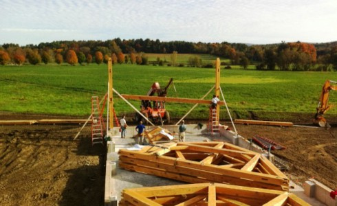 Timber Frame During the Assembly Process