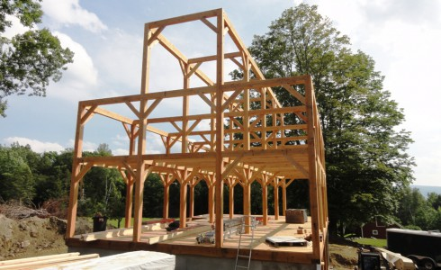 Nearly Completed Timber Frame Barn in a Beautiful New England Location
