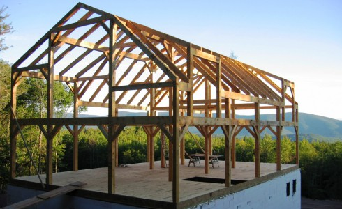 Hand Hewn Timber Frame after the Raising