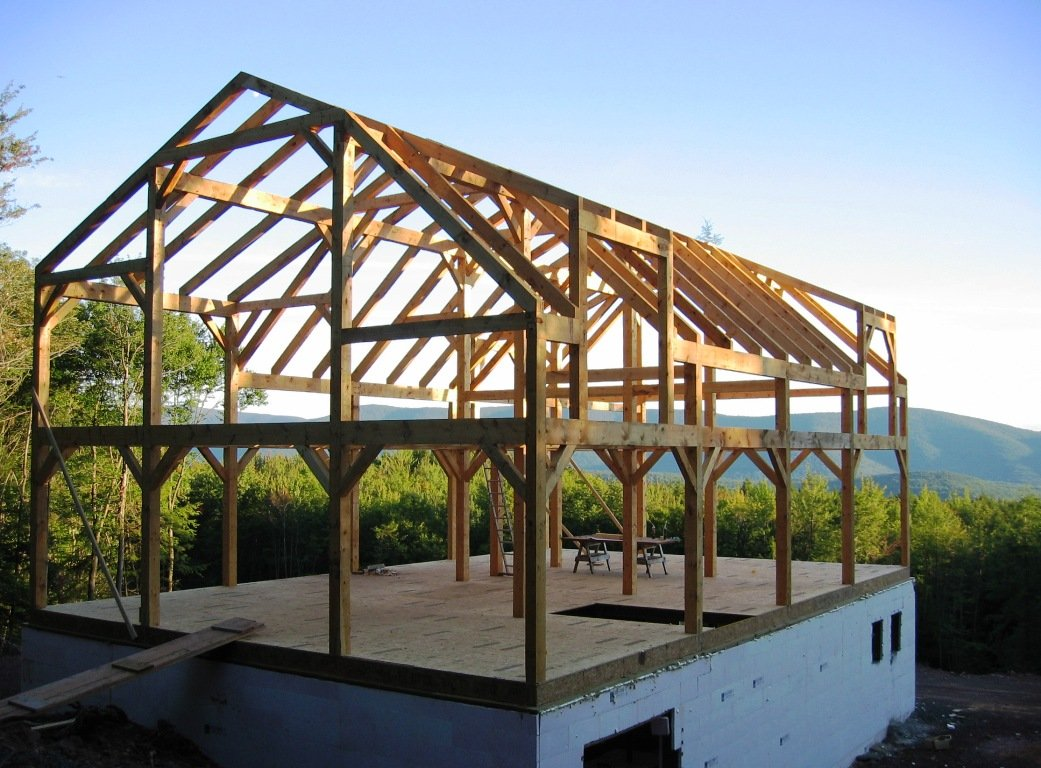 Timber frame barn home hand hewn beams for Timber frame designs