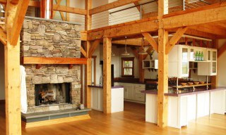 Interior of Timber Framed Gambrel Barn Home with Hand Hewn Beams