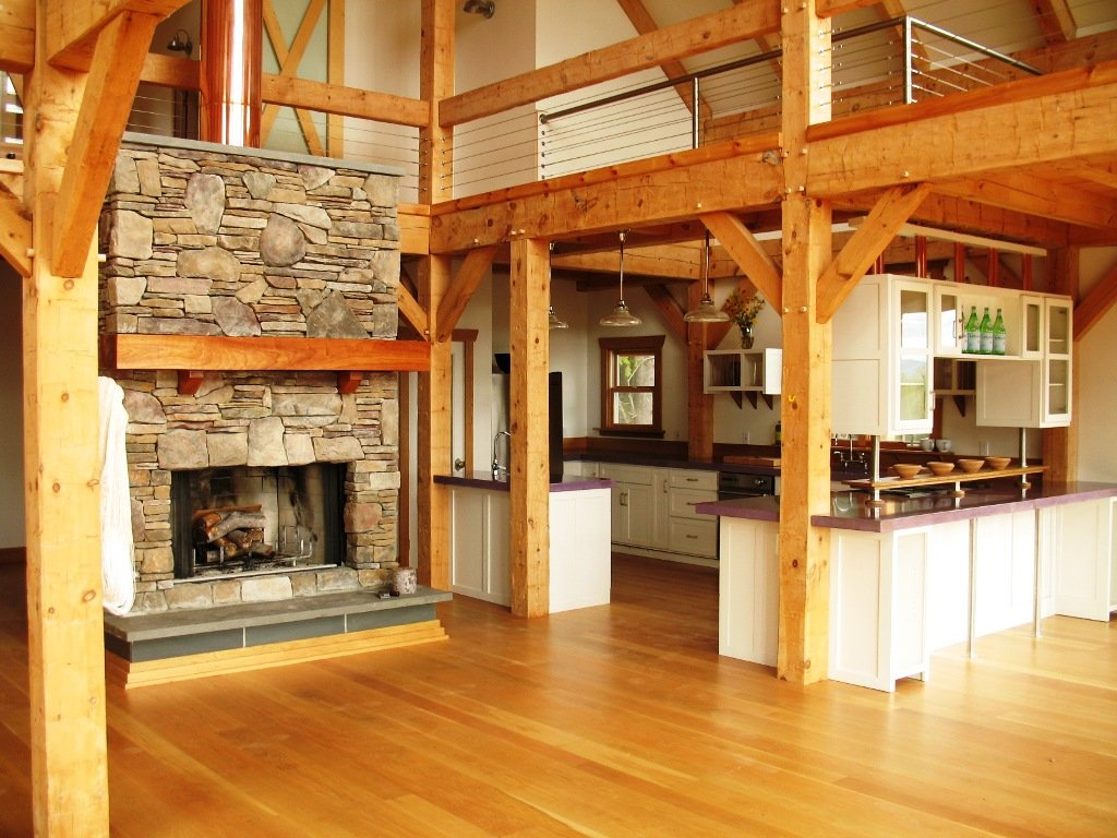 Timber frame barn home hand hewn beams Barn home interiors