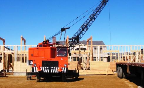 Crane Raising Timber Frame