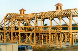 Timber Frame Horse Barn Being Built on Martha's Vineyard