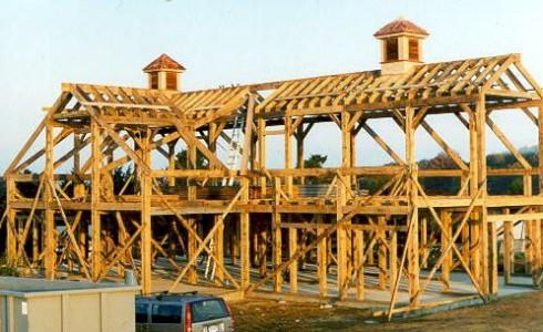 Timber Frame Horse Barn Being Built on Martha's Vineyard
