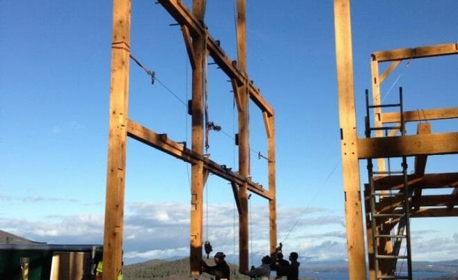 Setting a Timber Bent for a Barn Home