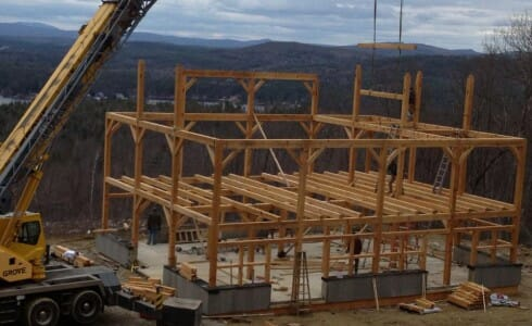 Settings of Timber Joists During Construction of Pugsley Barn