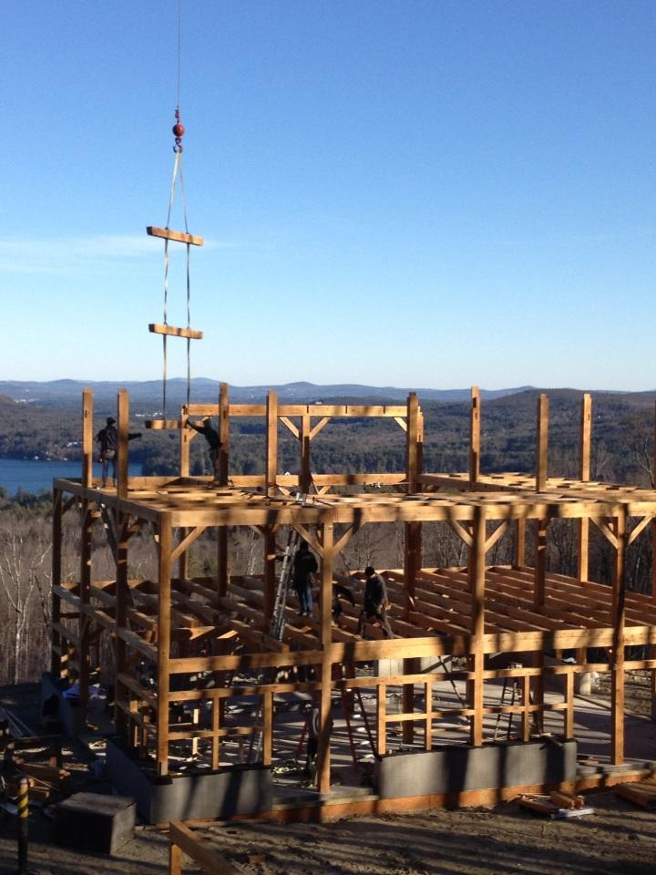 Timber Roof Rafters During Assembly