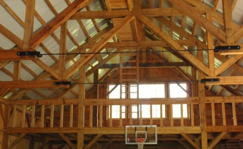 Timber Roof Rafters in an Equipment Barn