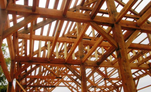 Interior Oak Barn Framing With Steel Tie Rods