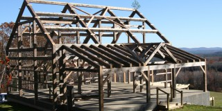 Antiqued native hemlock timber frame