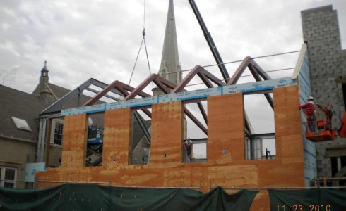 Placing Church Scissor Trusses