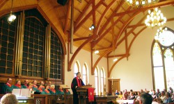 Church Interior with Curved Beams