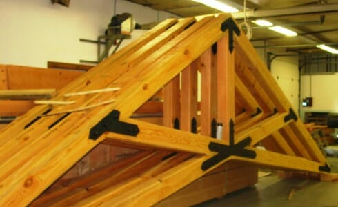 Church Scissor Trusses in the Shop Ready to Ship
