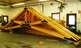 Timber Scissor Trusses with Steel Plates