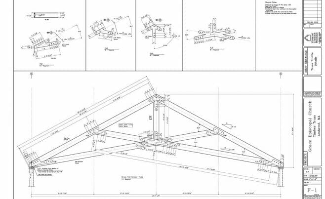 Shop Drawings of Timber Scissor Truss