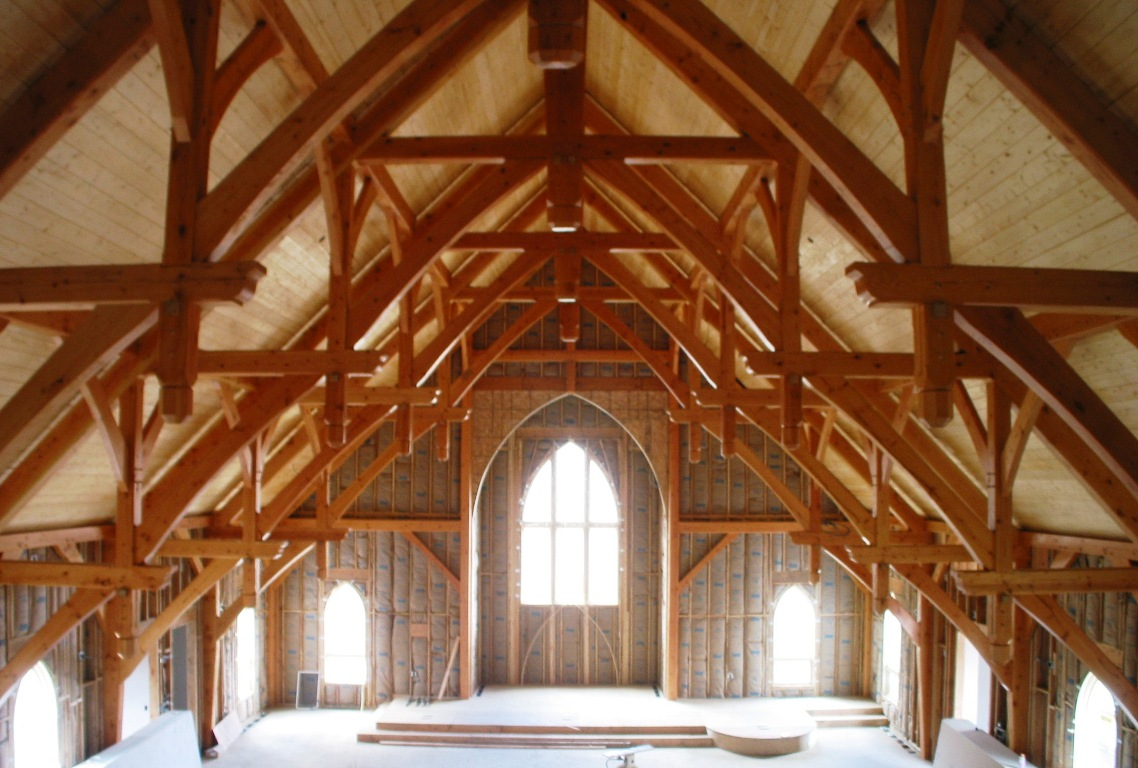 Timber Frame Church With Hammer Beam Trusses