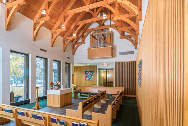 Interior of Westminster Presbyterian Church with Hammer Trusses