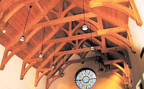 Timber Framed Chapel Ceiling & Stained Glass Window