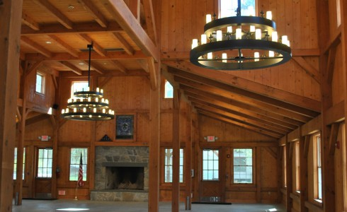 Elegant Heavy Timber Dining Hall Interior