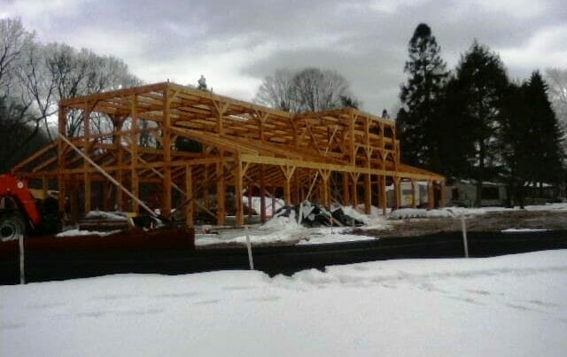 Winter Construction of Heavy Timber Dining Hall
