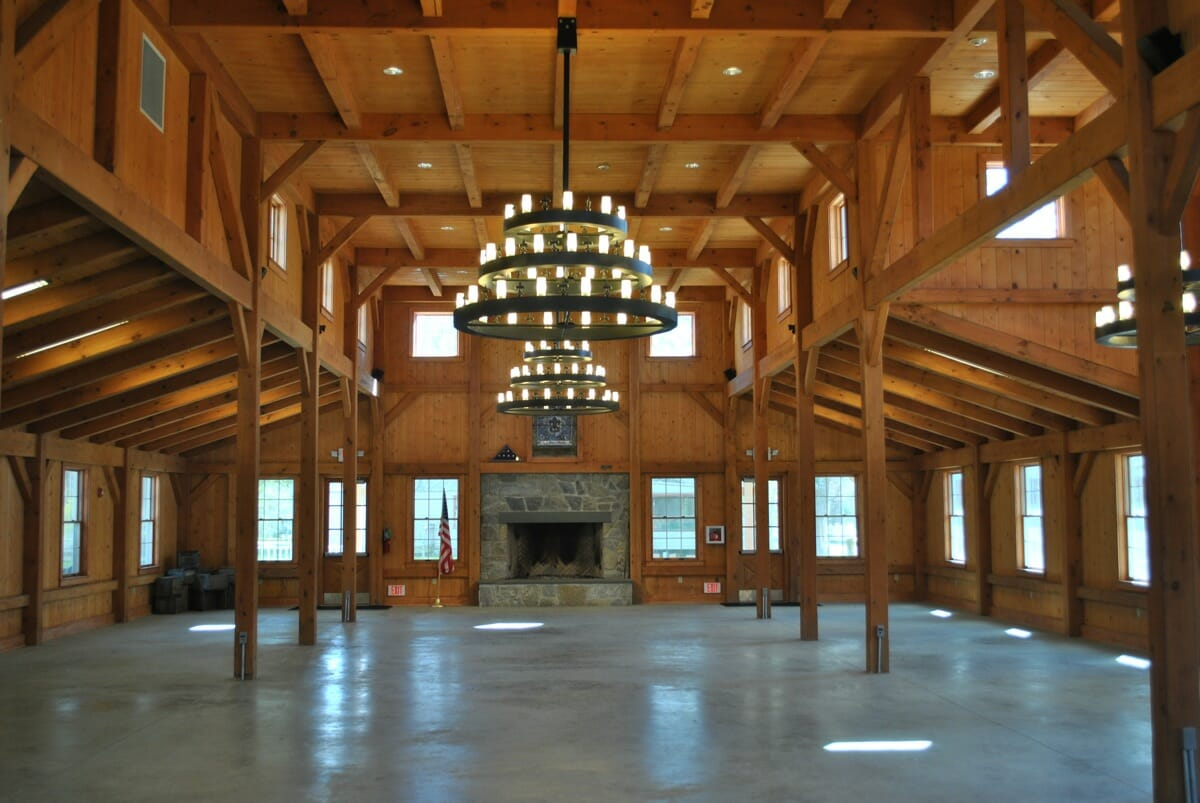 Heavy timber construction dining hall frame for House dining hall design