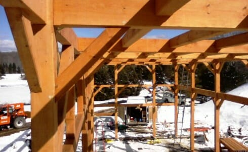 A Close Up of Timber Joinery on the Deer Lake Frame