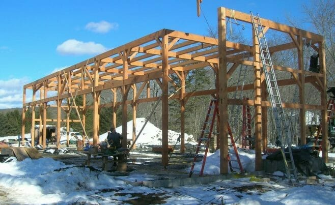 Connecticut Timber Frame Under Construction