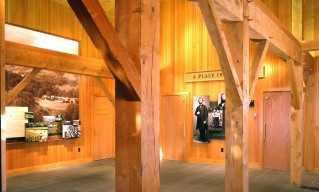 Rough Sawn Hemlock Post & Beam Interior Entry / Lobby