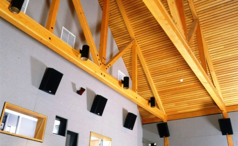 Douglas Fir King Post Truss for Theater Interior
