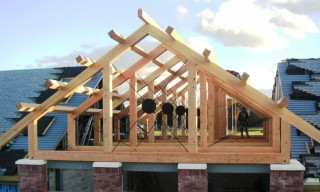 Douglas Fir Timber Truss with Decorative Steel Rods