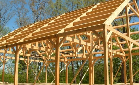 The Completed Post & Beam Frame for the Coastal Conservation Center