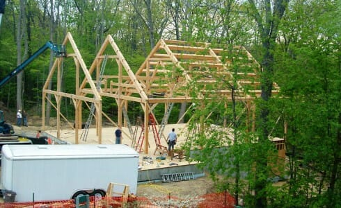 The Discovery Center During Timber Frame Assembly