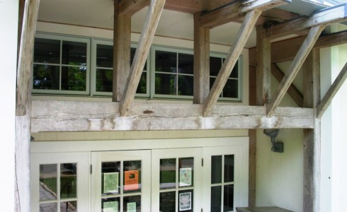 Post & Beam Braces at Library Entry